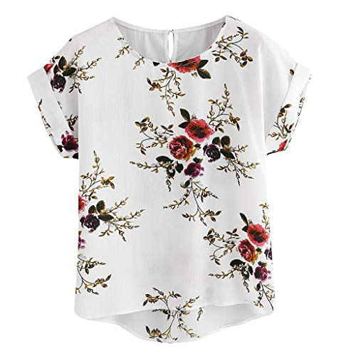 (WOCACHI Womens Floral Print Blouses Ladies Sexy O-Neck Short Sleeve Shirt Tops Flowy Loose Casual Tshirt Tops 2019 Summer Deals Shirts Under 5 Dollars)
