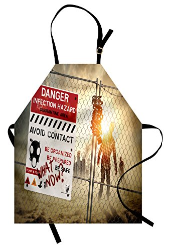 Ambesonne Zombie Apron, Dead Man Walking in Dark Danger Scary Scene Fiction Halloween Infection Picture, Unisex Kitchen Bib Apron with Adjustable Neck for Cooking Baking Gardening, Multicolor ()