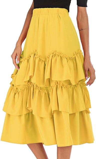 Vovotrade Falda de la Torta de Las Mujeres Falda de Cintura Alta ...