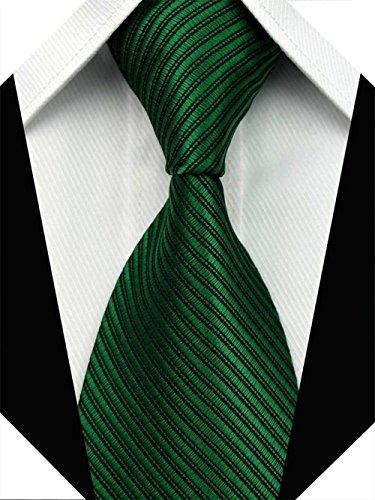Green Necktie Tie (Wehug Men's Classic Solid Tie Silk Woven Necktie Jacquard Neck Green Ties For Men LD0049)