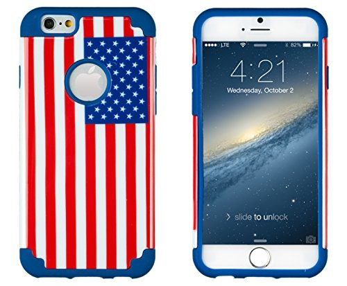 iPhone 6, DandyCase 2in1 Hybrid High Impact Hard USA American Flag Pattern + Blue Silicone Case Cover for Apple iPhone 6 (4.7