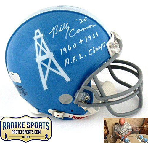 """Billy Cannon Autographed/Signed Houston Oilers Throwback Riddell NFL Mini Helmet with """"1960 + 1961 AFL Champs"""" Inscription"""