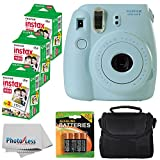 Fujifilm Instax Mini 8 Instant Film Camera (Blue) With Fujifilm Instax Mini 6 Pack Instant Film (60 Shots) + Compact Bag Case + Batteries Top Kit - International Version (No Warranty)
