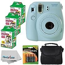 Fujifilm Instax Mini 8 Instant Film Camera (Blue) With Fujifilm Instax Mini 6 Pack Instant Film (60 Shots) + Compact Bag Case + Batteries Top Kit - International Version (No Warranty)