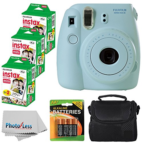 Fujifilm Instax Mini 8 Instant Film Camera (Blue) With Fujifilm Instax Mini 6 Pack Instant Film (60 Shots) + Compact Bag Case + Batteries Top Kit - International Version (No Warranty) by PHOTO4LESS