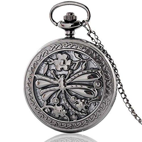Antique Dragonfly Gears Steampunk Necklace (Black Dragonfly Hollow Antique Steampunk Necklace Pocket Watch Vintage Quartz Pendant Gift Chain Retro)
