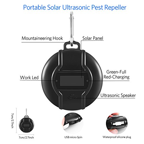Solar Portable Ultrasonic Pest Repeller - Solar or Micro USB Powered Ultrasonic Mosquito Repeller with USB Data Cable for Cockroach, Spider, Ant, Mosquito, Mouse, Bed Bugs and Fleas, Human & Pet Safe