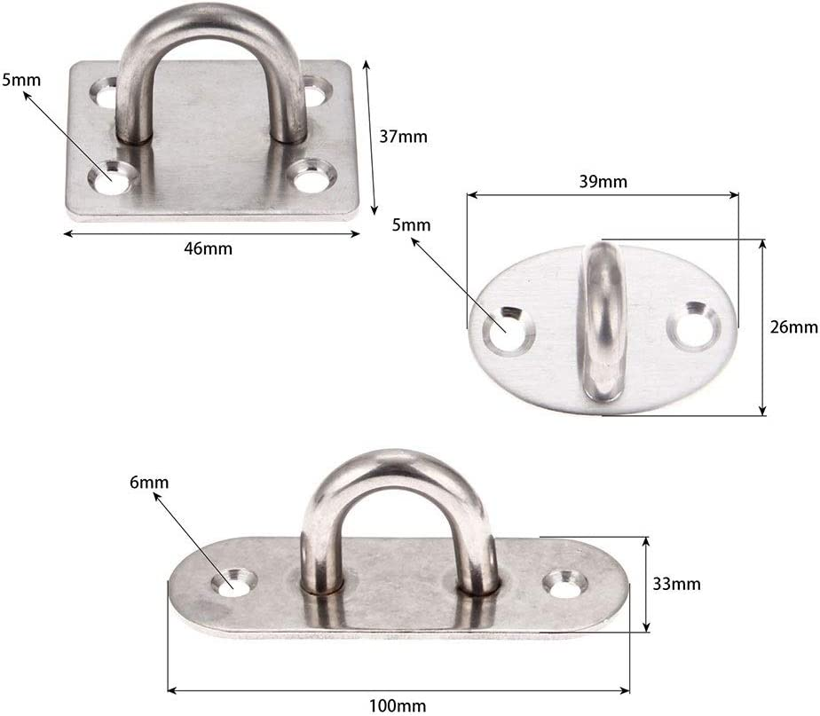 BEYTII 1Pc Eye Hooks Stainless Steel U-Shaped Ceiling Mount Hook Base Ceiling Fans//Leisure Sofa//Sandbags//Hammocks//Rings Fixed Ceiling Hook Eye Screw Hook Bolt Hammock Hooks Color : 39 x 26mm