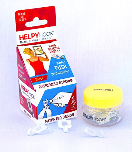 HELPYHOOK 10 - Amazing picture hanger hook - just press hook with thumb - no tools, no nails, no adhesive - hang up to 17 lbs - 10 hooks in container