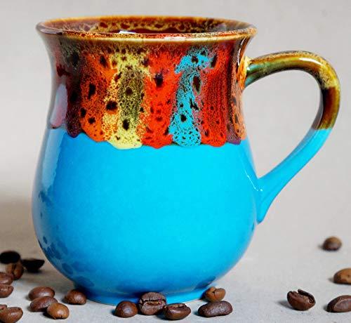 Handmade pottery rainbow coffee mug, Blue ceramic tea mug, Rainbow gift for friend, him Bright mug, Blue sky mug Xmas gift