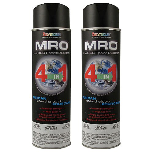 Flat Black MRO Industrial Enamel Spray Paint ~ Seymour 620-1433 ~ 20 Oz Cans ~ Qty (2) by Seymour Paint