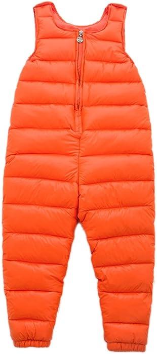 c1cdcace6 Roffatide Unisex Kids Packable Down Puffer Pants Winter Warm Lightweight  Bib Pant Orange 80