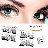 Bahpaud Magnetic False Eyelashes 3D 2018 New Version, 0.2mm Ultra Thin Glue-Free Magnetic Fake lashes, Reusable False Lashes, Natural Look (1 Pairs/4 Pieces)
