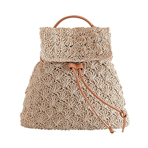 Retro Women Hollow Straw Backpack Girl Drawstring Beach Travel Shoulder Bag
