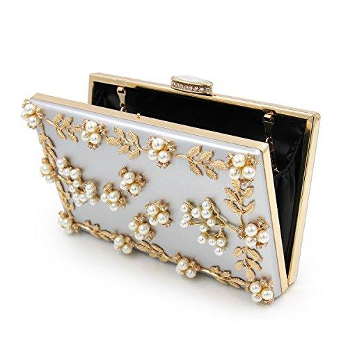 Purse Pearl Women Handbag Clutch Evening Beaded Bag Milisente Sliver qw7Ht0w
