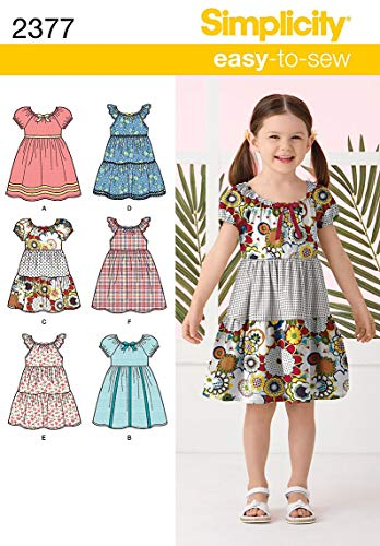 3 Sewing Patterns - Simplicity Learn To Sew Patterned Girl's Dress Sewing Pattern Template, Sizes 3-8