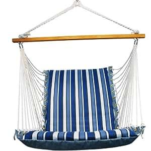 Algoma 1500-135142 Hanging Soft Cushion Chair, Palm Stripe Blue