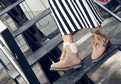 KUKI Damenschuhe, Damenstiefel, Baumwollstiefel, niedrigen Absatz, flachen Boden, Spitze, Stiefel, Studenten, groß, Mode, wild beige / cotton
