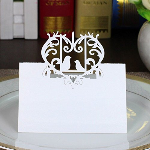 Sorive Laser Cut Perfect Pair Love Birds Heart Wedding Place Card Table Number Banquet Party Decoration / Wedding Guest Cards (100) Love Birds Place Card Holder