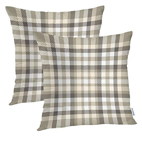 Batmerry Gingham Pillow Covers 18x18 Inch Set of 2, Geometric Squares Pattern in Taupe and White Double Sided Decorative Pillows Cases Throw Pillows Covers