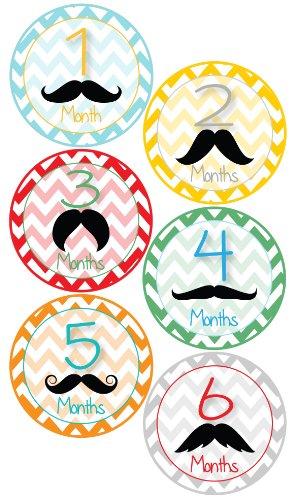 Baby Boy Mustache Monthly Onesie Stickers - Baby Photo Prop - Newborn Sticker - Bodysuit Stickers - Mustache Stickers