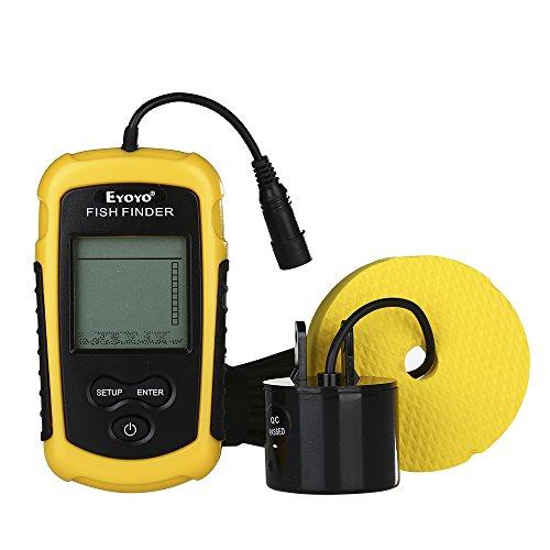 Eyoyo Portable Sonar Fish Finder, Handheld Wired Fishfinder with 328Feet 100M Depth Sounder Alarm Sensor Transducer and Fishing Tackle Gray LCD (Depth Sounder Fishfinder)