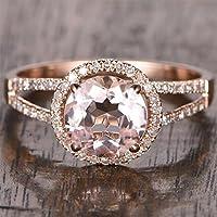 1.25 Carat Antique Design Split Shank Halo Morganite and Diamond Engagement Ring for Women In Rose Gold