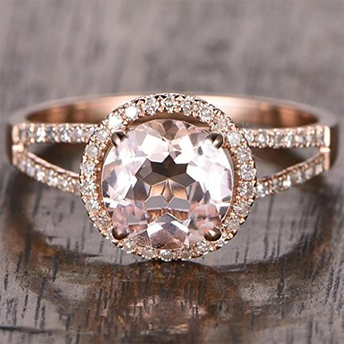 1.25 Carat Antique Design Split Shank Halo Morganite and Diamond Engagement Ring for Women In Rose Gold
