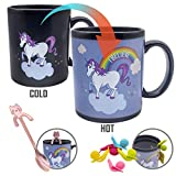 11 Ounce Heat Sensitive Rainbow Unicorn Ceramics Mug, Heat Change Coffee Tea Mug With Cute Tea Bag Holder and Mini Cat Stainless Steel Coffee Spoon