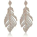 KnSam Women Rose Gold Plate Pierced Drop Earrings Bohemian Feather Crystal Rhinestone White wbNEC