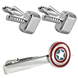 Outlander Thor Silver Cufflink & Captain America Tiebar - New 2018 Marvel Studios Superhero Movies - Set of 2 Wedding Logo w/Gift Box