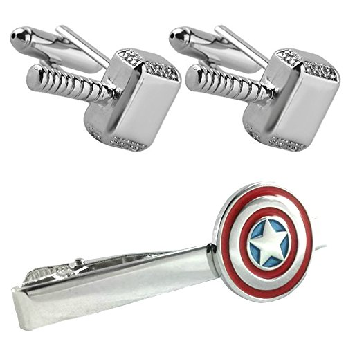 Outlander Thor Silver Cufflink & Captain America Tiebar - New 2018 Marvel Studios Superhero Movies - Set of 2 Wedding Logo w/Gift Box by Outlander