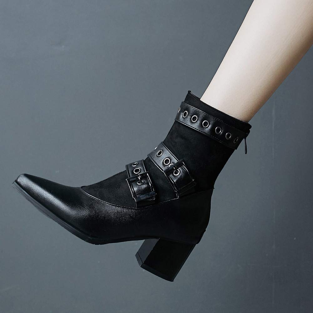 RedBrowm-women Rivet Buckle Strap Pointed Shoes Zipper High Heel Boots Leather Boots