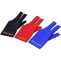 POFET - Guante para taco de billar (4 unidades, licra elástica, para hombre y mujer, 3 dedos), color rojo, azul y negro