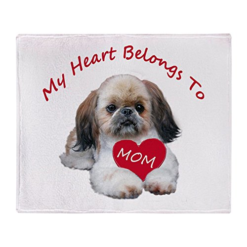 (CafePress Shih Tzu Belongs to MOM Soft Fleece Throw Blanket, 50