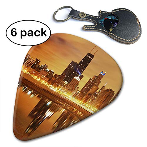 Queendesign Chicago Skyline 351 Shape Classic Celluloid Guitar Picks 6 Pcs for Electric Guitar,Mandolin,Bass Includes 0.46mm 0.71mm 0.96mm
