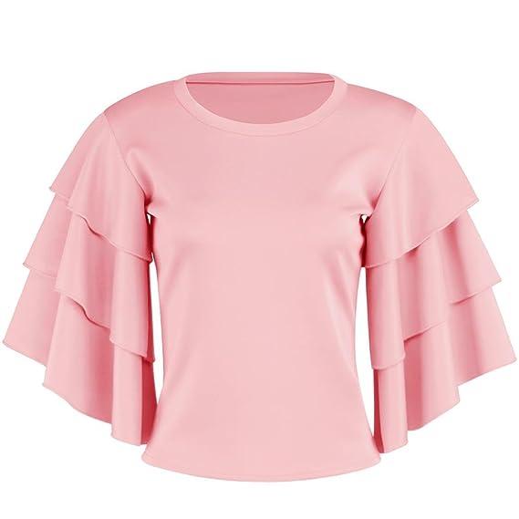 Lunaanco 2018 Vestidos de Mujer, Camisetas de Mujer, Blusa con Cuello en V de Manga Larga con Cuello en V de Manga Larga_ Mujer Chaleco Blusas de ...