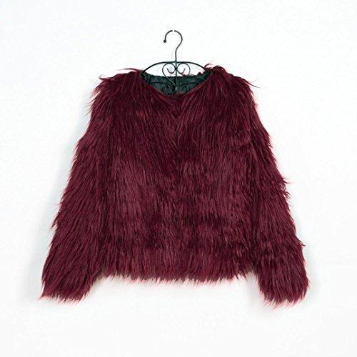 de Cálida para Chaqueta Sintética Piel Abrigo Abrigo KaloryWee Mujer Invierno de Mujer de Rojo Parka 7z54qcISwx