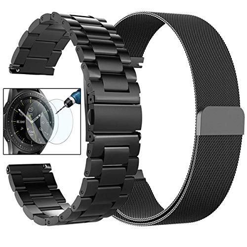 CAGOS Compatible Galaxy Watch (42mm)/Ticwatch E Band Sets, 20mm 2 Pack Stainless Steel Band+Milanese Loop Mesh Bracelet Strap for Galaxy Watch 42mm/ Gear Sport/Ticwatch E Smartwatch-Large