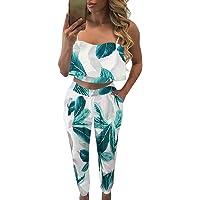 Fancyinn Conjunto Verano Mujer Pantalon y Top Estampado de Flores Fiesta Playa