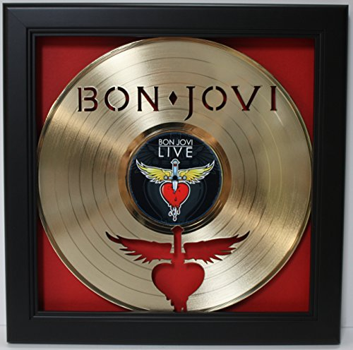 Bon Jovi Framed Laser Cut Gold Plated Vinyl Record in Shadow