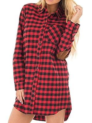 Geckatte Women's Plaid Elbow Patch Long Sleeve Botton Down Shirt Dress Blouse Tunic Tops