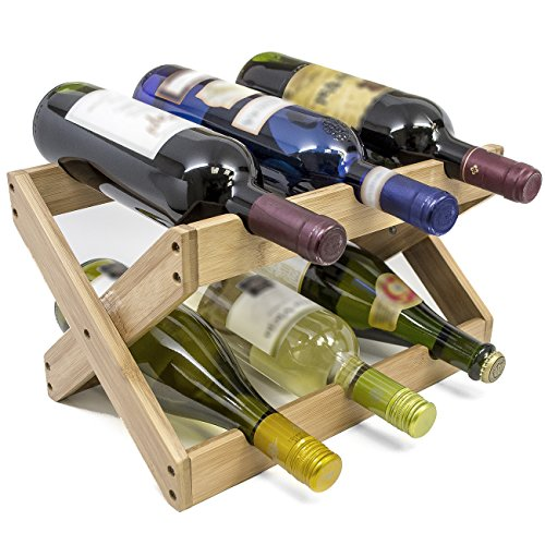 Wine Holder - Sorbus Bamboo Foldable Countertop Wine Rack 6-bottles (Bamboo)