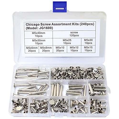 Boeray 240pcs Chicago Binding Screws Assorted Kit 9 Sizes Stud Screw Posts Rivet Chicago Button for DIY Leather Decoration Bookbinding ()