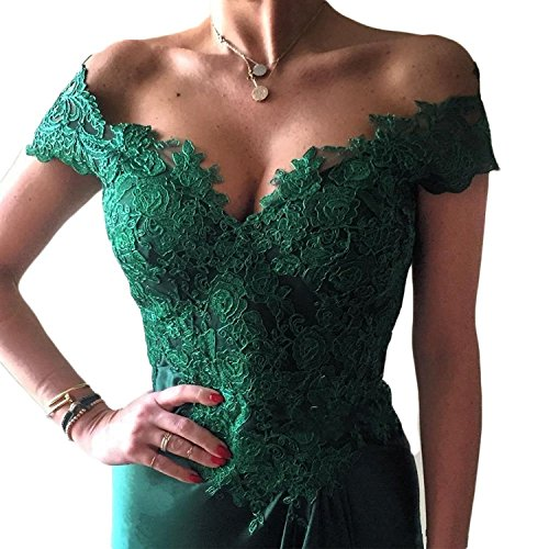 V SA007 Gown Neck Lace Sexy Dress With Women's Formal Satin Split Green Prom Evening Party wAxqTtI