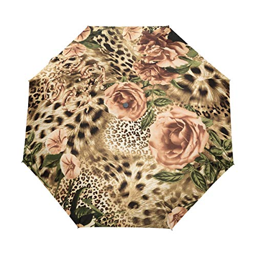 TropicalLife Windproof Travel Umbrella Animal Tiger Leopard Print Compact UV Protection Lightweight Folding Umbrellas, Auto Open Close