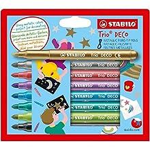 Rotulador infantil de decoración STABILO Trio Deco - Estuche con 8 colores metálicos