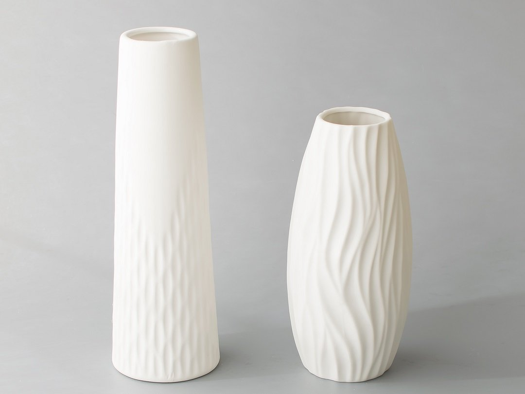 Opps White Ceramic Vases With Special Modern Wave Pattern Design For Home Décor – Set Of 2