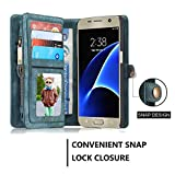 Galaxy S7 Case,Galaxy S7 Wallet Case, Esing Premium Folio Zipper Purse Leather Cover Cases for Samsung Galaxy S7 Detachable Magnetic Case with Flip Credit Card Slots Stand Holder(Blue)