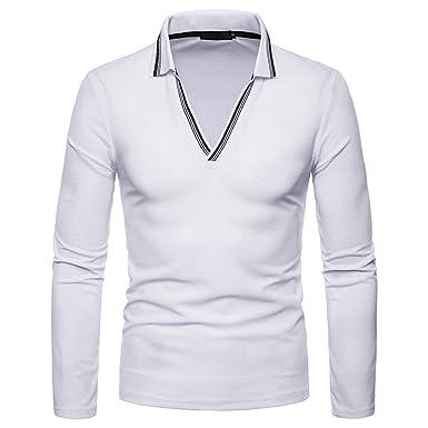f45c159de9f9 SamMoSon Men's Autumn Winter Pure Color Blouse,Turtleneck Top Long Sleeve T-Shirt  Casual